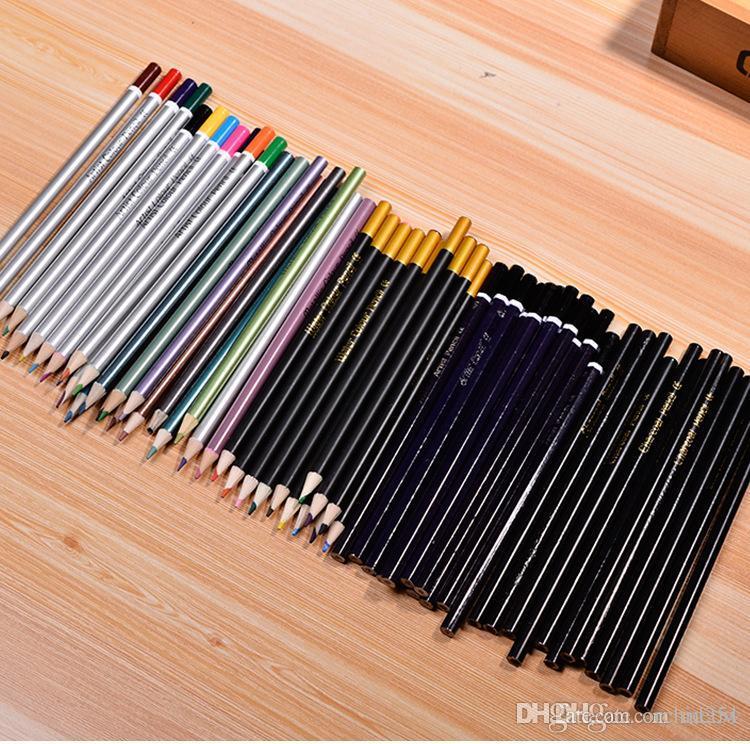 أقلام فنانين خشبيين ملونين رسم مائي من الفحم المعدني للبالغين