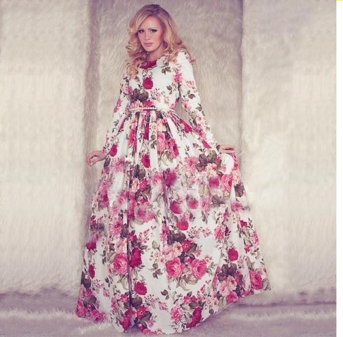New Women Floral Maxi Dress 2015 Summer Long Sleeve O Neck Red ...