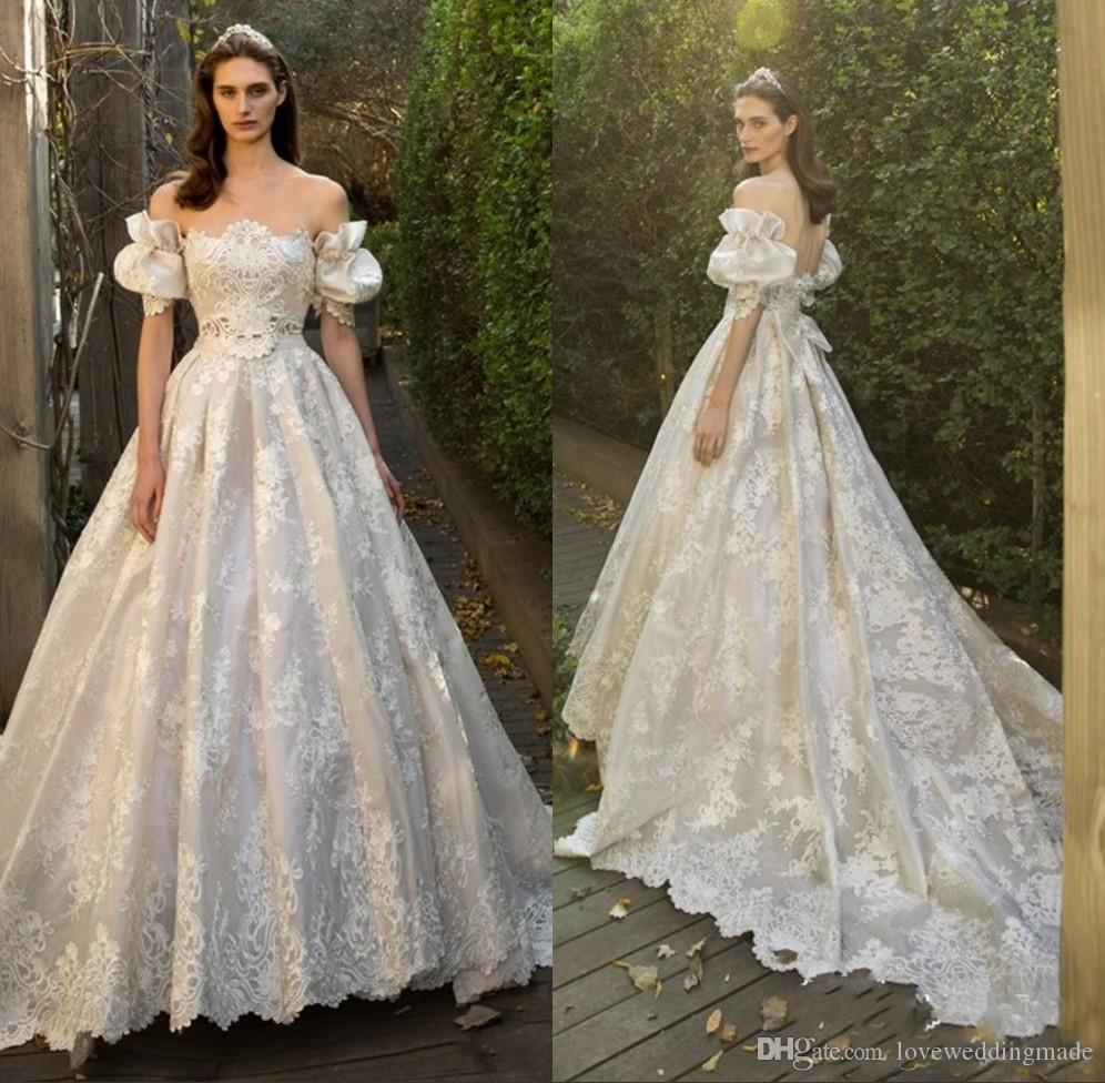 best quality picked up factory price Discount 2018 European Style A Line Champagne Wedding Dresses With Juliet  Short Sleeve Bow Bridal Gowns Sexy Backless Castle Vestido Weddings Ball ...