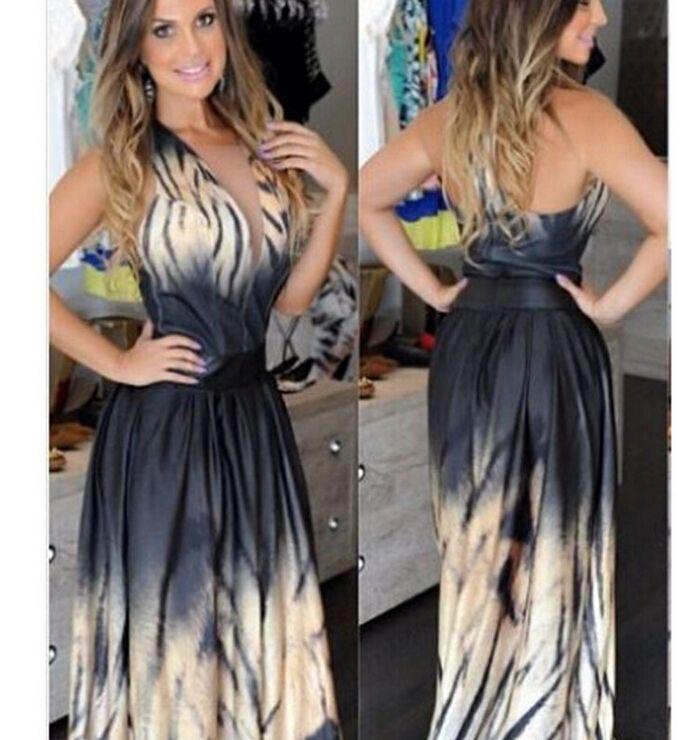 d377450652e99 2015 Women Street Style V-Neck Sexy Europe Animal Print Tiger Stripe Halter Maxi  Dress