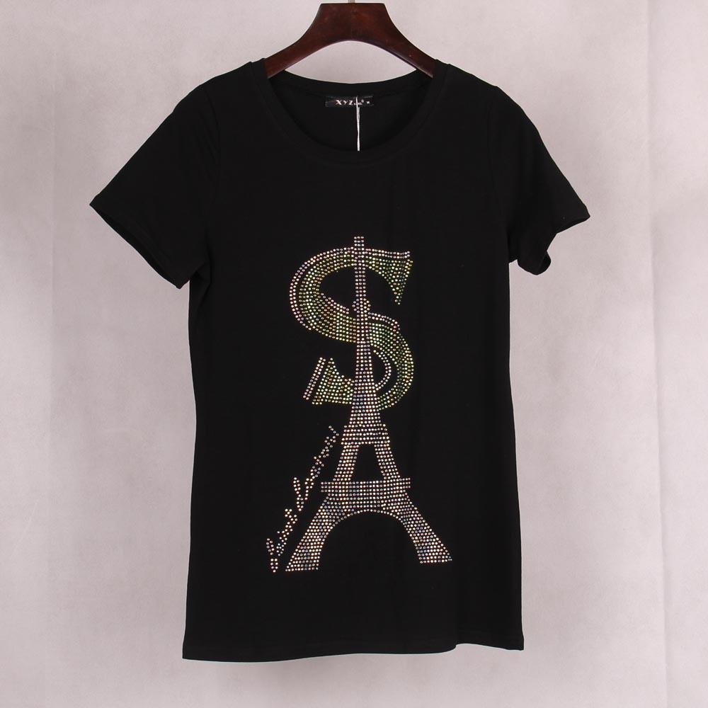 FG1509 Новый 2015 Женская футболка Эйфелева башня SA печатных драгоценный камень встроенный бренд с коротким рукавом панк-рок футболки топы тройники Женская одежда