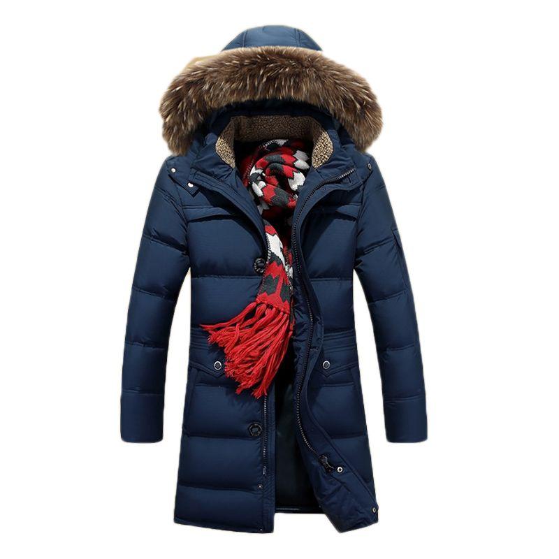 Otoño-2015 Moda de invierno Súper Cálido Chaqueta larga de hombre Abajo Cuello de piel de mapache genuino Con capucha Deporte al aire libre Parkas Tallas grandes