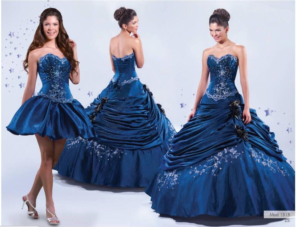 Darmowa Wysyłka! Słodki dekolt Blue Haft Lace Up Dwa Styl Długie lub krótkie Suknia Balowa Prom Dress Quinceanera Suknie w La