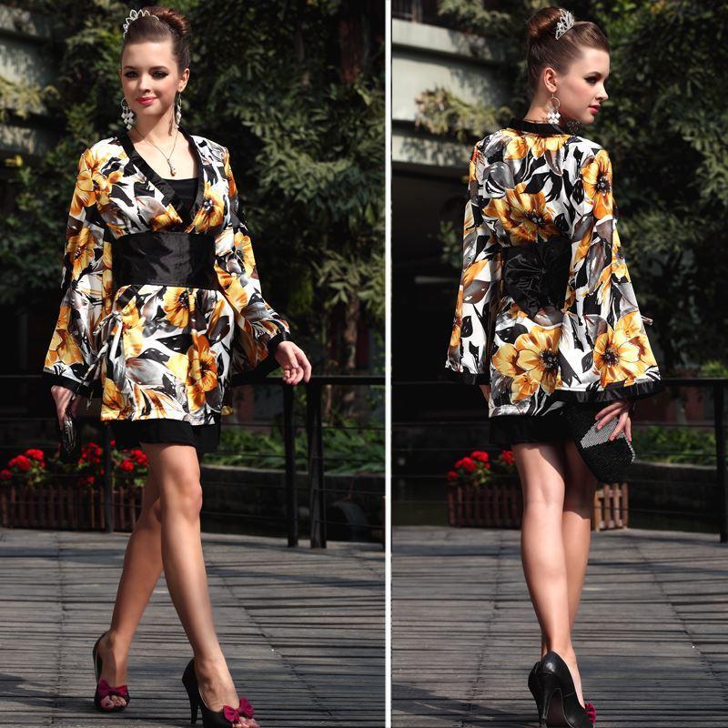 Lan Kwai Fong women silk chiffon long sleeve dress Japanese bath Slim 2161 free shipping Japanese kimono breeze Japanese