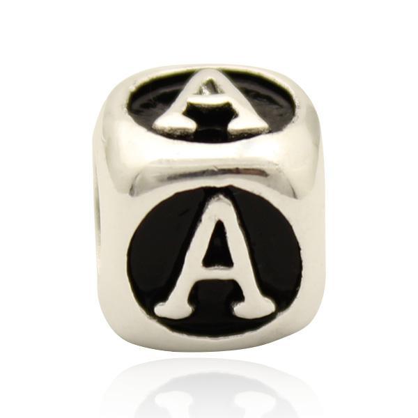 Black enamel dice shape Letter A to J bead alphabet bracelet European DIY charm fit Pandora bracelet