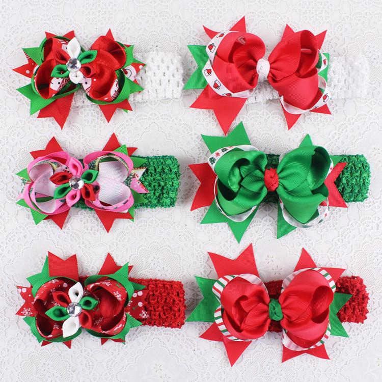 Christmas Headband For Baby Girl.Boutique Christmas Headbands Baby Hair Accessories Headbands Kids Girls Fabric Flower Elastic Headband Infant Toddler Ribbon Bow Headwear Baby Girl
