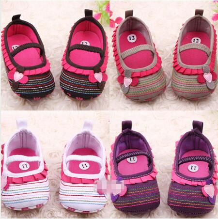style available ! Cotton Cloth Four-Flower Baby Shoes Striped Sole Shoes for Kids Cute Toddler Shoes 6pairs/12pcs Drop Shipping