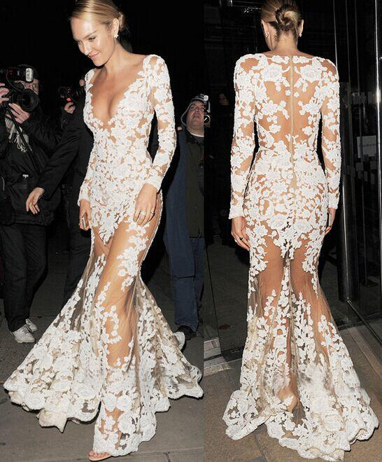 2015 Trend White New Wedding Evening Dresses Mesh Lace Long Sleeve V ...