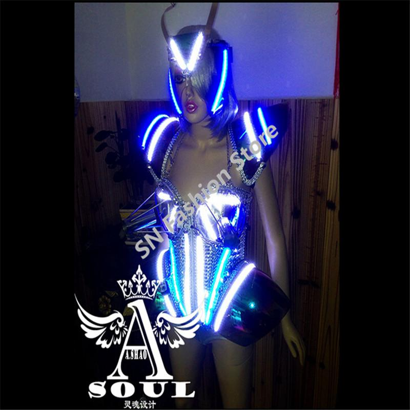 WX12 Singer cold fireworks Silver mirror clothes dance mask bar dress party dj disco ballroom performance led lighted costumes