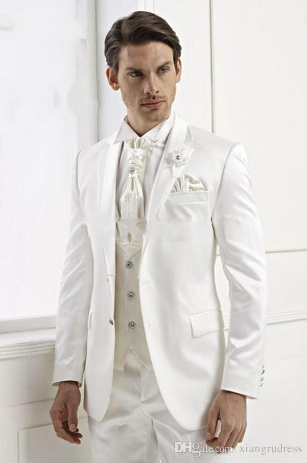 Weiß Slim Fit Hochzeit Mann Smoking Nach Maß Bräutigam Smoking Spitze Revers Besten mann Anzug Bräutigam Hochzeit Prom Anzüge (Jacke + Pants + Weste)