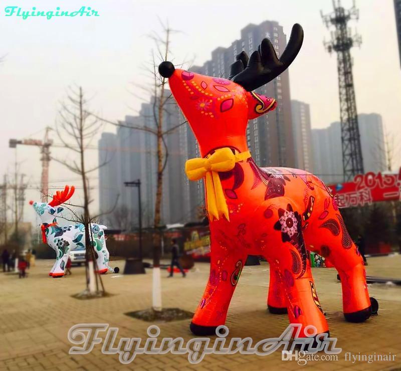 5m Custom Christmas Decorative Inflatable Reindeer for Christmas with Printing