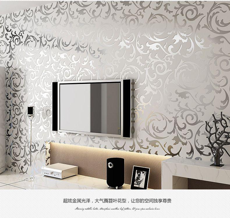 3d luxury golden wallpaper roll for walls damask murals for tv background living room silver wallcoverings