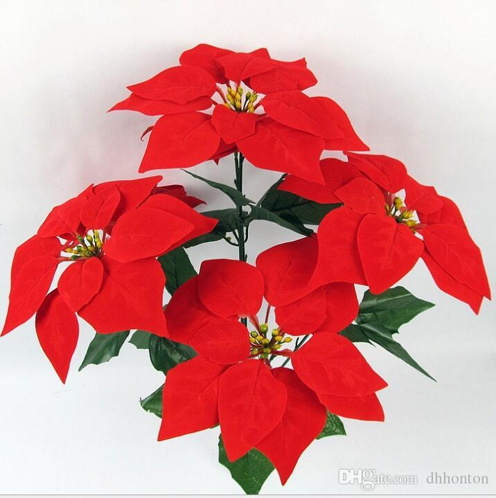 Artificial Christmas Flowers.2019 Christmas Flower Poinsettia Artificial Flowers Poinsettia Christmas Home Festival Decoratiion Flower 45cm 5 Heads Not Include The Vase Sf009 From