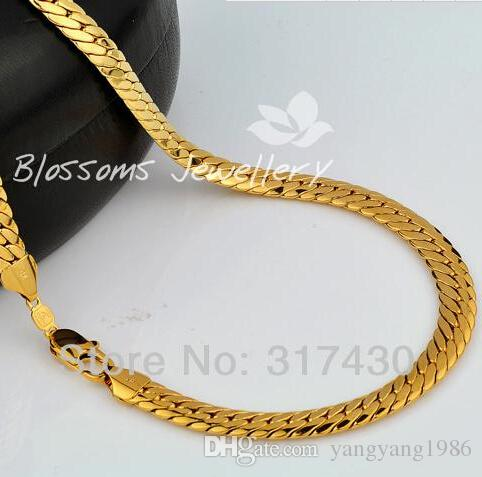 """retails real fine18k Yellow Gold Filled Necklace 24"""" 10mm 85g Herringbone Chain Men's Necklace GF Jewelry"""