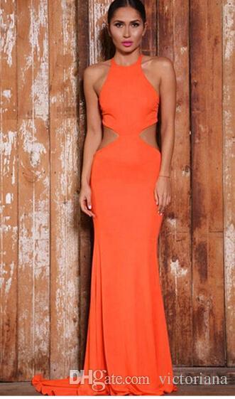 1aa36b8b Women Sexy Orange Long Evening Dress Bandage Dresses Bodycon Dress  Celebrity Runway Dress Sexy Club Dress Vestidos Dress For Evening Party  Ladies ...