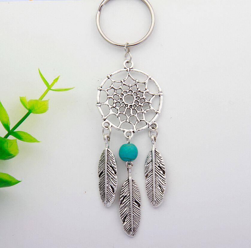 New Hot 10pcs Ancient Silver Dreamcatcher&Wing&Crystal Beads Charm Steampunk Keychain Keyring Accessories Fashion Jewelry S789