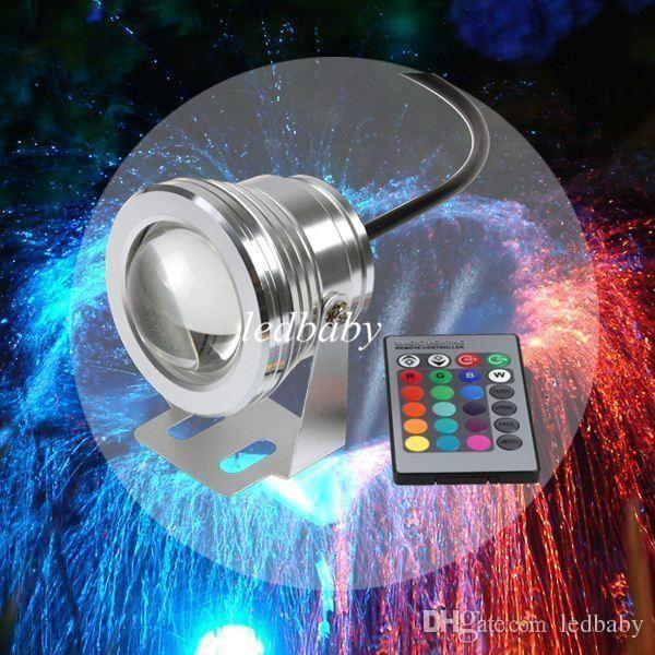 DHL 16 Farben 10 Watt 12 V RGB LED Unterwasserbrunnenlicht 1000LM Schwimmbad Teich Aquarium Aquarium LED Licht Lampe IP68 Wasserdicht