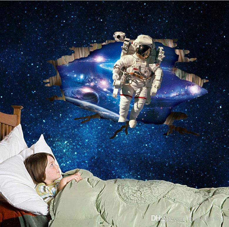 Großhandel 3D Astronaut Kam Durch Weltraum Wand Kunst Wandbild Aufkleber  Aufkleber Kinder Jungen Kinderzimmer Zimmer Tapete Dekoration Poster  Cracked ...