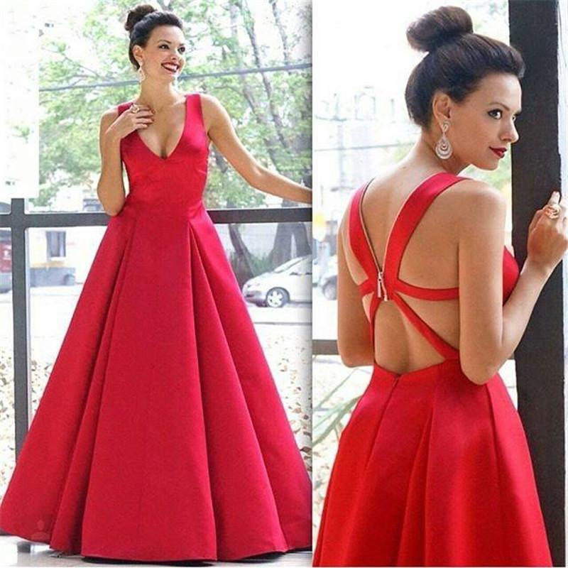 Red Sexy Plunging V Neck Evening Dresses 2016 Plus Size A Line Criss Cross Straps