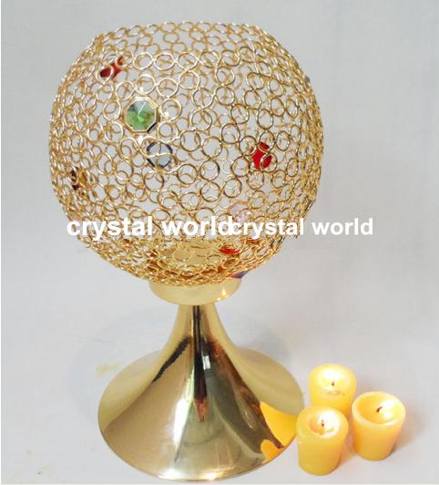 Новый дизайн хрустальный шар свеча стенд для свадьбы центральным