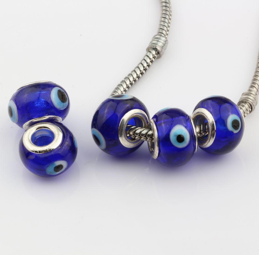 Hot ! 100pcs Evil Eye Royal blue Color Colored Glaze 5mm Big Hole Glass Beads Fit Charm Bracelet DIY Jewelry 14mm