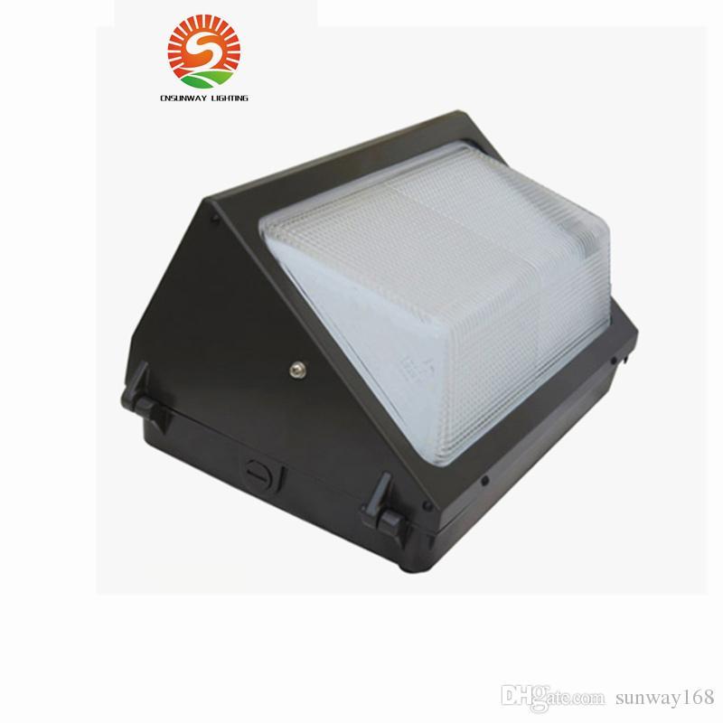 UL DLC Fotosel Sensörü Açık LED Duvar Paketi Işık 100 W 120 W Endüstriyel Duvar Montaj LED Aydınlatma Günışığı 5000 K AC 85-265 V + Meanwell sürücü