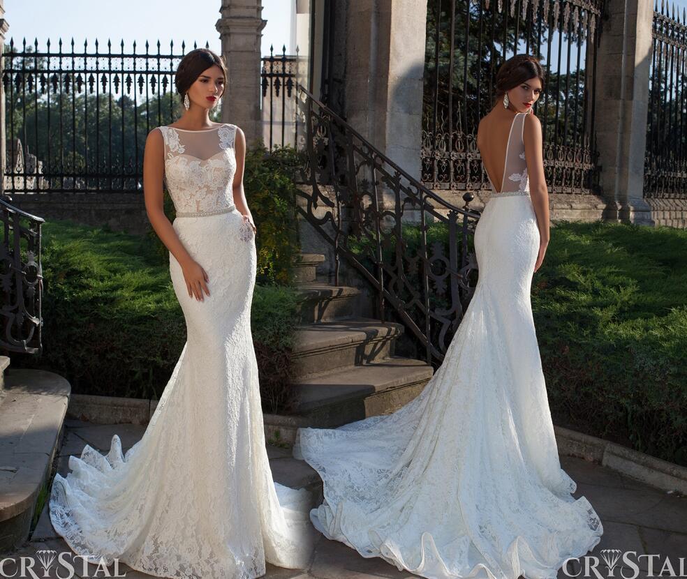 Bröllopsklänningar Vintage Lace Mantel Formella Bröllopklänningar Lace Applique Charmigt Baklösa Sweep Train Högkvalitativa Lace Bröllopsklänningar