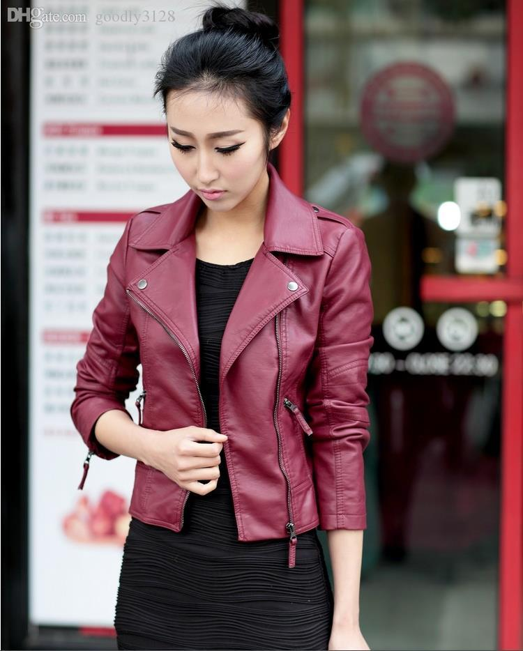 Wholesale-Fashion Fall Winter Faux Leather Women Jackets Black Plus Size Zipper Jackets For Women Casual Women Coats
