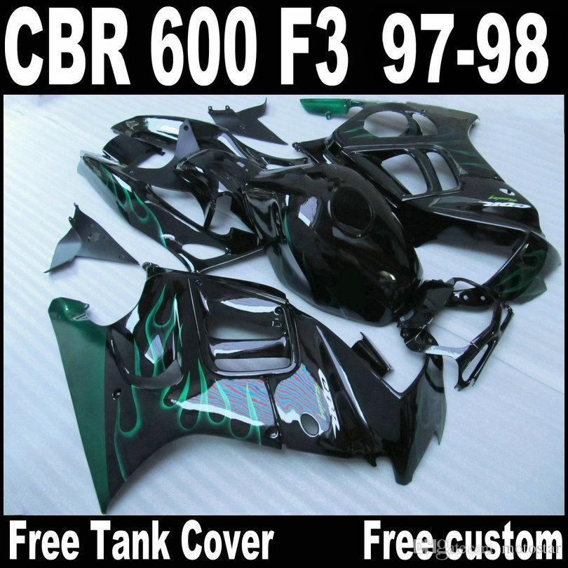 Высококачественные обтекатели для HONDA CBR600 F3 1997 1998 green flames in black bodykits CBR 600 97 98 комплект обтекателей QY29 + 7 подарков