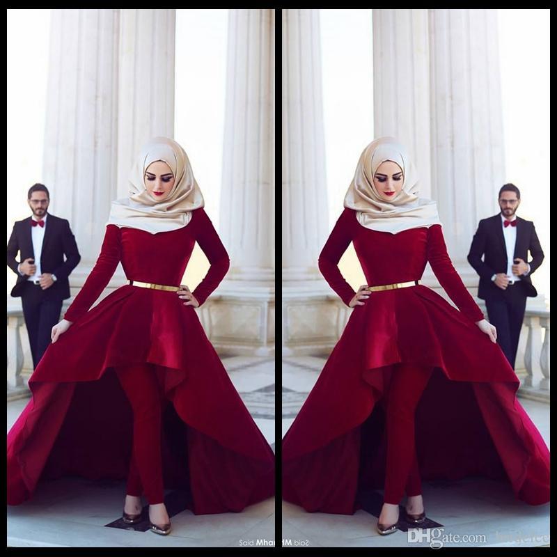 Красные бархатные мусульманские свадебные платья с длинным рукавом мода хиджаб с брюками 2020 новый стиль свадебные свадьбы на талии створки