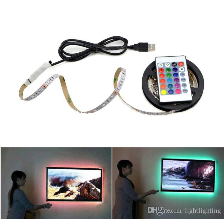 USB بالطاقة 5V RGB LED قطاع الخفيفة 60 المصابيح / م 3528 SMD الشريط غير ماء للتلفزيون خلفية الإضاءة مع وحدة تحكم عن بعد