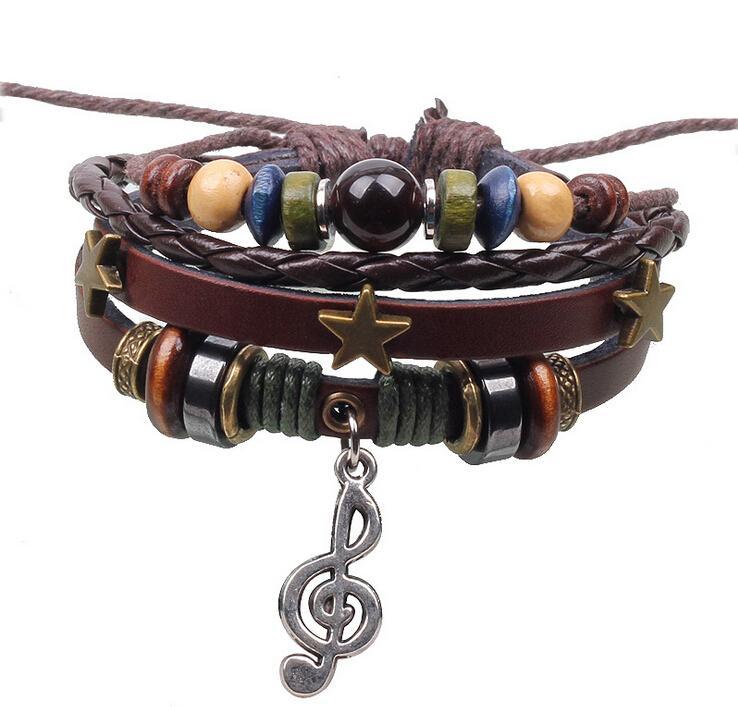 2014 vendita calda moda multistrato cinturino in pelle bracciali braccialetti vintage tre stelle nota musicale braccialetto pendente per le donne uomini