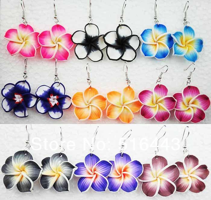 Büyük Promosyonlar 10 Pairs Takılar Fimo Şanslı Çiçekler Bırak Küpe Kadınlar için Toptan Moda Takı Ücretsiz Kargo A-408