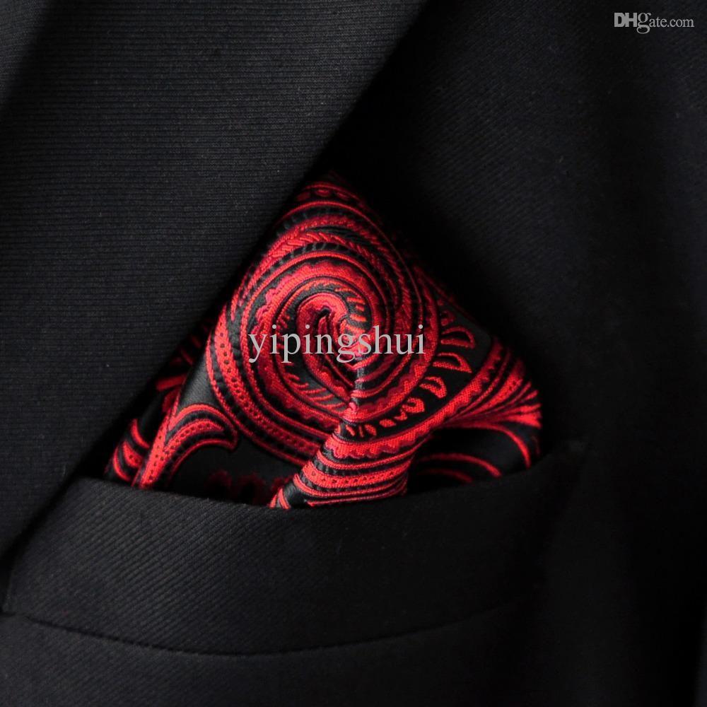 Al por mayor-bolsillo cuadrado Paisley rojo carmesí negro pañuelo para hombre corbatas de seda Jacquard tejido Hanky