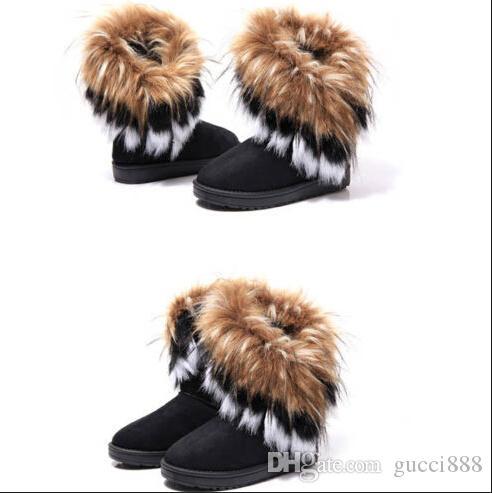 O ENVIO GRATUITO de sapatos mulheres imitação de pele de raposa botas de neve Mid-Calf botas de inverno botas para as mulheres hot fashion novo estilo 2019 novo. # D18