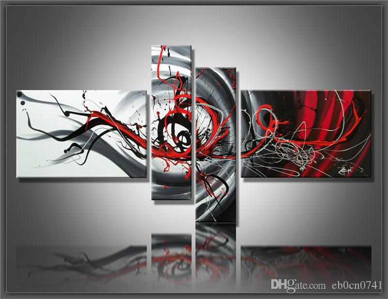 Multi piece combination 4 pcs/set Canvas Art Abstract Oil Painting Black White and Red Wall Decor hand-painted Pictures Home decoration