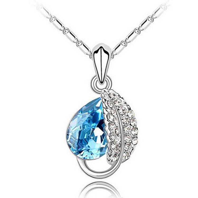 Moda collana di cristallo austriaco ciondolo gioielli di alta qualità foglia forma gioielli collana economici per le donne gioielli swarovski gioielli 4172