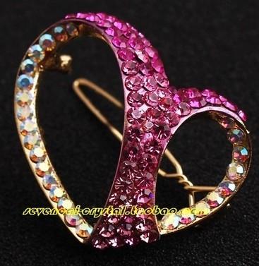 horquilla más color del diamante de la señora corazón hueco (4.5 * 2.9cm) (myyhmz)