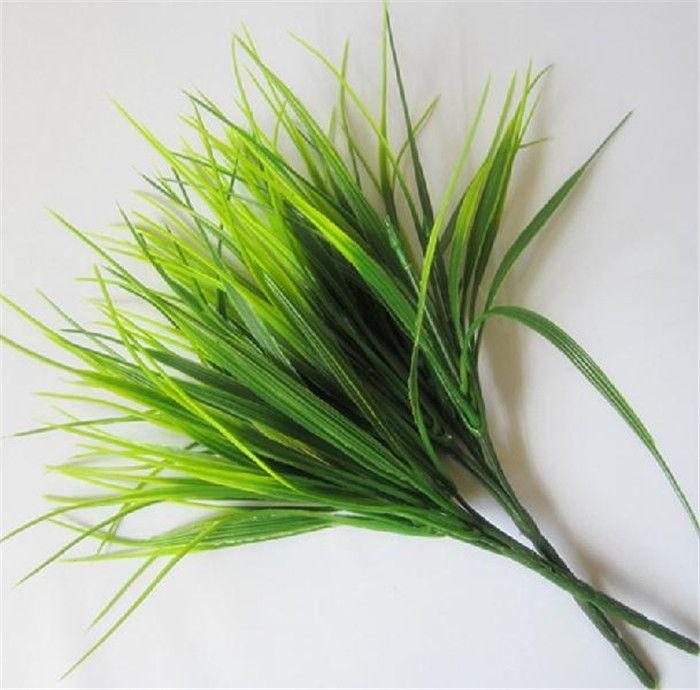 """뜨거운 가짜 녹색 식물 30cm / 11.81 """"길이 12Pcs / lot 인공 운이 좋은 잔디 플라스틱 식물 잔디 웨딩 플라워에 대한 무리 당 7 줄기"""