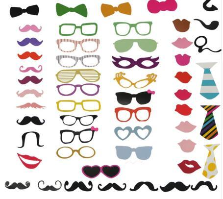 New Fun Photo Booth 58PCS/Set PhotoBooth Props Lip Mask Hat Glass Colorful Card On A Stick Wedding Party Decoration Favor