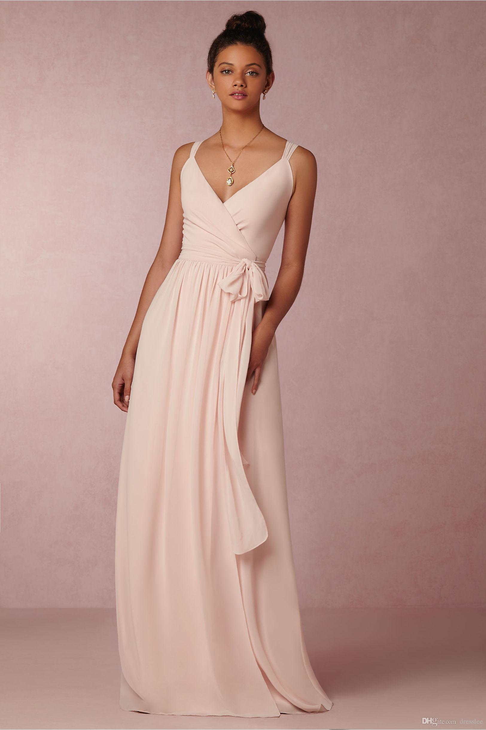 Vestidos Damas De Honor Blush Pink Bridesmiad Dresses Sheer ...