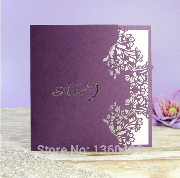 Rustic Muslim Purple Flower Lace Laser Cut Wedding Invitation