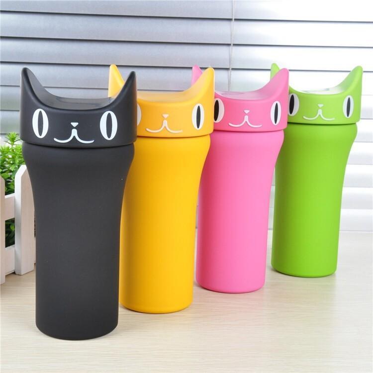 2015 chaud créatif mode hommes femmes en acier inoxydable kawaii chat sport bouteille d'eau étudiants étudiants enfants petite tasse bouilloire 300 ml