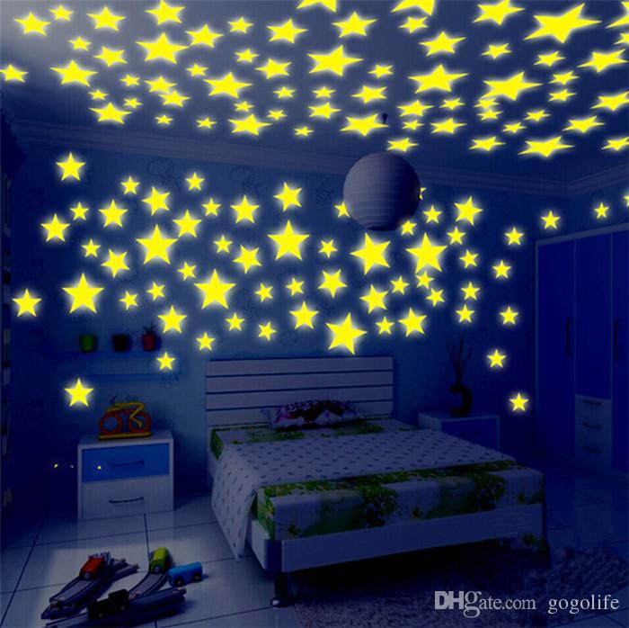 3D Stereo Luminous Star Sticker Luminous Snowflake Sticker Luminous Wall Sticker