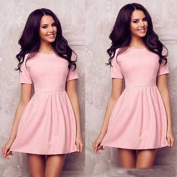 fresh styles timeless design outlet boutique 2015 Women Summer Short Sleeve Mini Dress Casual O Neck Cute Girl'S A Line  Bodycon Dresses Plus Size Woman Cheap Cloth Work Wear Party Dress Shopping  ...