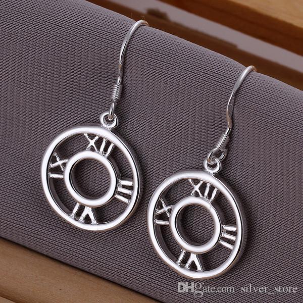 새로운 스털링 실버 플레이트 빈 로마 귀걸이 DFMSE041, 여성 925 실버 매달아 샹들리에 귀걸이 10 쌍