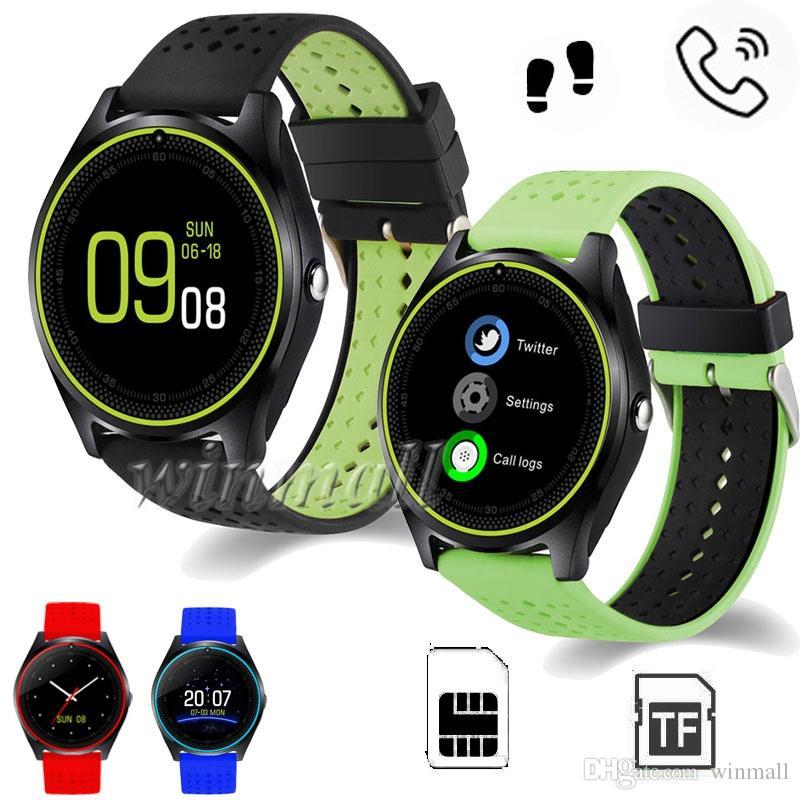 ساعة ذكية V9 مزودة بكاميرا شاشة مستديرة بطاقة Micro SIM 2G Phone Watch ساعة رياضية ذكية لـ Android IOS