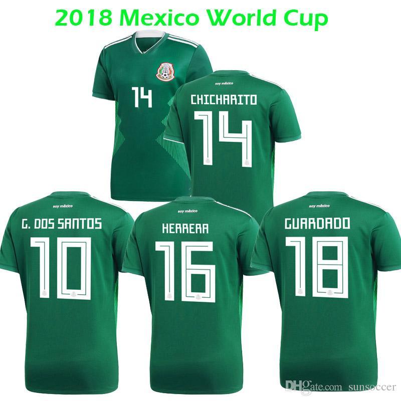sports shoes d706e 7a03f 2019 2018 World Cup MEXICO Soccer Jersey CHICHARITO 2018 MEXICO Home Green  Guardado G.Dos Santos Herrera Football Shirts Camiseta Futbol Maillot From  ...