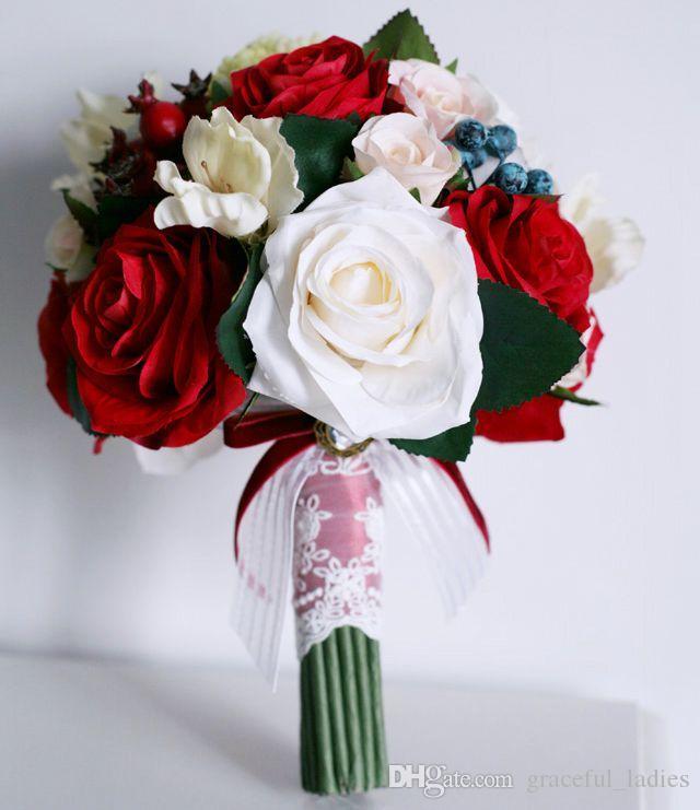 Acheter Fleur De Soie Longue Bouquet De Mariage Rouge Blanc Evenement De Mariage Decoration De Fleurs Bleu De Fleurs Artificielles En Cascade Bouquet