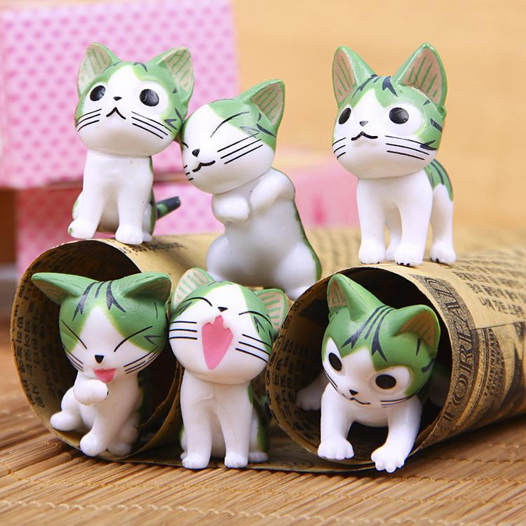 Sale Mini cartoon cat 6pcs/lot cartoon Toppers Doll PVC Action Figures Toy Fairy Garden Miniatures Craft For Home Decor Birthday Gift